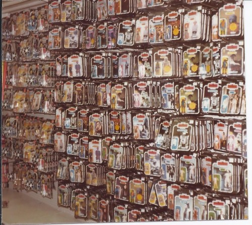 This vintage photograph from the Kenner Collector website shows how I remember the department store Star Wars toy aisle. You'd paw through these for hours to get to the one you didn't have yet,