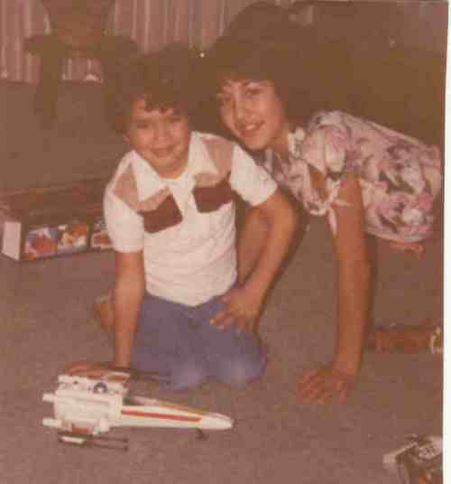 Another 6th birthday pic. Me with my sister and my new X-Wing.