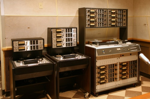 Vintage 2-track, 4-track, and 16-track tape recorders