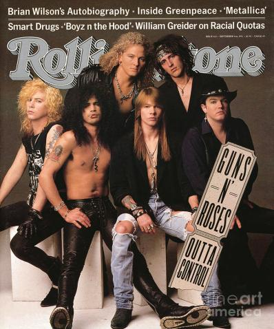 Rolling Stone cover, 9-5-91. This is one of the only photos in existence of the band as a six-piece with Stradlin still a member