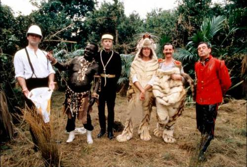 John-Cleese-Terry-Gilliam-Graham-Chapman-Eric-Idle-Michael-Palin-and-Terry-Jones-of-Monty-Python-on-the-set-of-The-Meaning-of-Life