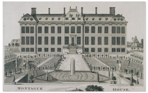 James-Simon-The-North-Front-of-Montagu-House-and-Gardens-engraving