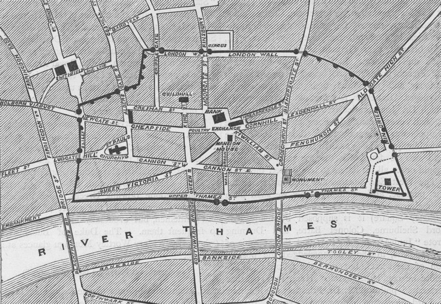 roman-london.-part-of-modern-london-showing-the-ancient-wall-c1880-old-map-52367-p